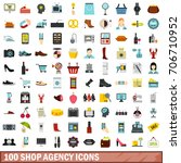 100 shop agency icons set in... | Shutterstock .eps vector #706710952