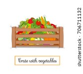 wooden crate with vegetables.... | Shutterstock .eps vector #706711132