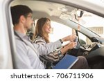 young woman on a driving test...   Shutterstock . vector #706711906