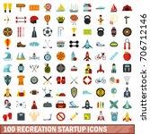 100 recreation startup icons... | Shutterstock .eps vector #706712146