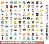 100 makeup advertising icons... | Shutterstock .eps vector #706712215
