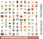 100 fete brainstorm icons set...   Shutterstock .eps vector #706714066