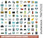 100 computer goods icons set in ... | Shutterstock .eps vector #706715122