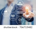 Small photo of Presentation of project management areas of knowledge such as cost, time, scope, human resources, risks, quality and communication with icons and a manager touching virtual screen