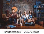 mixed race group of teenagers... | Shutterstock . vector #706727035