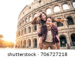 young couple at the colosseum ... | Shutterstock . vector #706727218