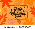hello autumn. autumn pattern ... | Shutterstock .eps vector #706735405