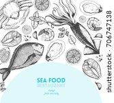 seafood design template. vector ... | Shutterstock .eps vector #706747138