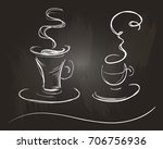 set of two coffee cups in a... | Shutterstock .eps vector #706756936
