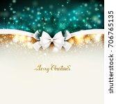 christmas background with bow. | Shutterstock .eps vector #706765135