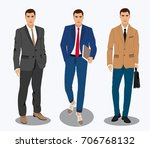 three stylish young businessman ... | Shutterstock .eps vector #706768132
