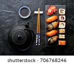 variation of sushi and rolls on ... | Shutterstock . vector #706768246