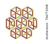 impossible geometry. colored...   Shutterstock .eps vector #706771048