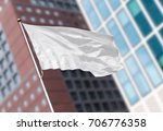 white blank flag waving in the... | Shutterstock . vector #706776358