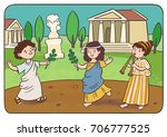 holiday in ancient rome.... | Shutterstock .eps vector #706777525