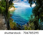 a nice lungomare by the sea in... | Shutterstock . vector #706785295