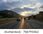 colorado sunset on freeway | Shutterstock . vector #706793362