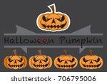 pumpkins emotions design cute...   Shutterstock .eps vector #706795006