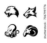 furious wolf  fox  ram and...   Shutterstock .eps vector #706799776