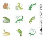 lizard icons set. cartoon set... | Shutterstock .eps vector #706812976