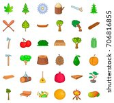 Tree Icons Set. Cartoon Style...