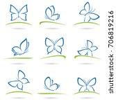 butterflies set. vector | Shutterstock .eps vector #706819216
