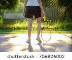 female tennis player legs. | Shutterstock . vector #706826002