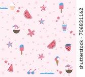 summer seamless pattern.... | Shutterstock .eps vector #706831162