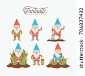 gnome fantastic character set... | Shutterstock .eps vector #706837432
