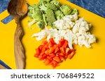 shredded vegetables peppers ... | Shutterstock . vector #706849522