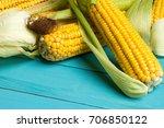 ripe yellow sweet corn cob on a ... | Shutterstock . vector #706850122
