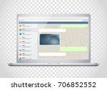 vector notebook with messenger... | Shutterstock .eps vector #706852552