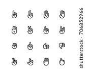 hand gestures icon set | Shutterstock .eps vector #706852966