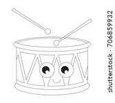 drum toy cartoon. outlined... | Shutterstock .eps vector #706859932