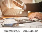 a businessman analyzing... | Shutterstock . vector #706860352