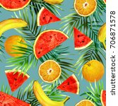 fruits seamless pattern.... | Shutterstock . vector #706871578