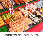 various sushi in the street... | Shutterstock . vector #706872826