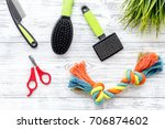 grooming equipment with brushes ... | Shutterstock . vector #706874602