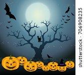 moon and pumpkin's halloween   Shutterstock . vector #706908235