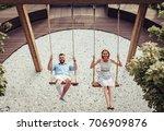 romantic couple is having fun... | Shutterstock . vector #706909876