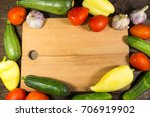 food frame with fresh organic... | Shutterstock . vector #706919902