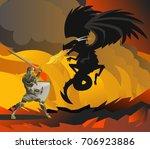 fantasy knight fighting a black ... | Shutterstock .eps vector #706923886