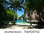 paradise beach has blue sea... | Shutterstock . vector #706928752