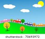 cartoon colorful cars. vector... | Shutterstock .eps vector #70693972