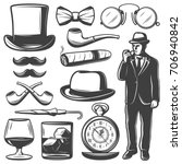 vintage gentleman elements set... | Shutterstock .eps vector #706940842