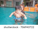 the kid and mom play together... | Shutterstock . vector #706943722