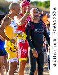 Small photo of ROTA, SPAIN - SEPT 04: Unidentified triathletes participating on XXI triathlon Herbalife Villa de Rota on September 04 , 2016, in Rota , Spain