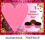 Vector Illustration Valentines Chocolate card or invitation. May add photo and/or text. - stock vector