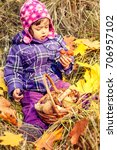 little girl in the autumn... | Shutterstock . vector #706957102