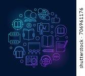 online courses round blue... | Shutterstock .eps vector #706961176
